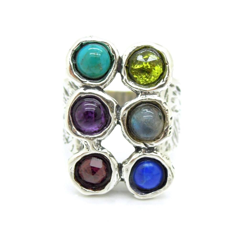 Ring - Large Rectangle Silver Ring With Gemstones