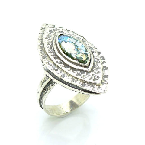 Ring - Large Silver & Roman Glass Ring Oval Shaped