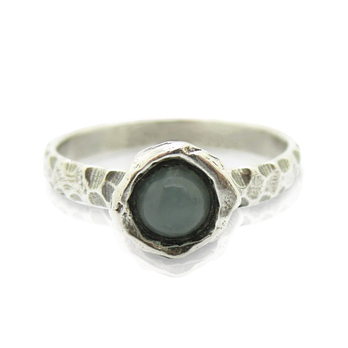 a4adddb2cff16 Moonstone ring set in hammered sterling silver, stacking ring