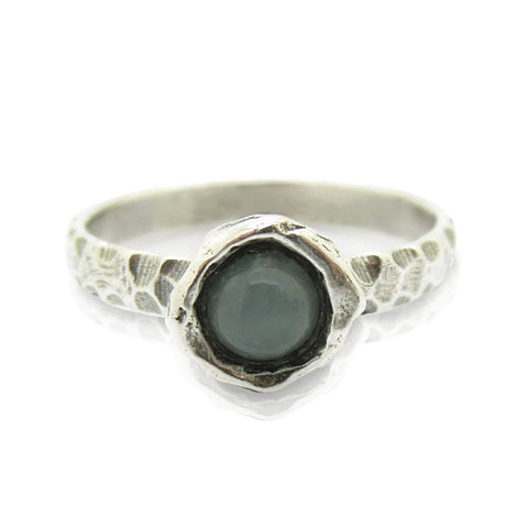 Ring - Moonstone Ring Set In Hammered Sterling Silver, Stacking Ring