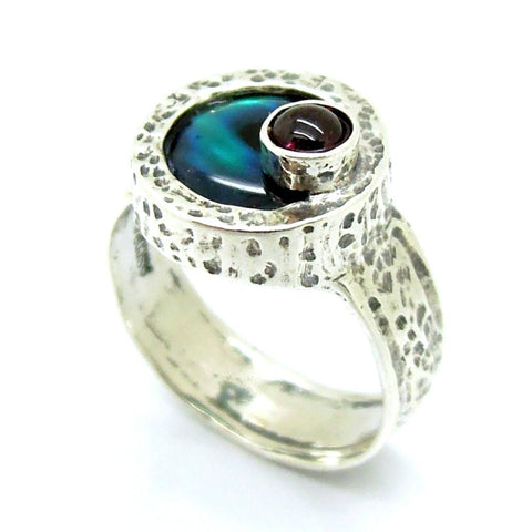 Ring - Mother Of Pearl And Purple CZ Silver Ring