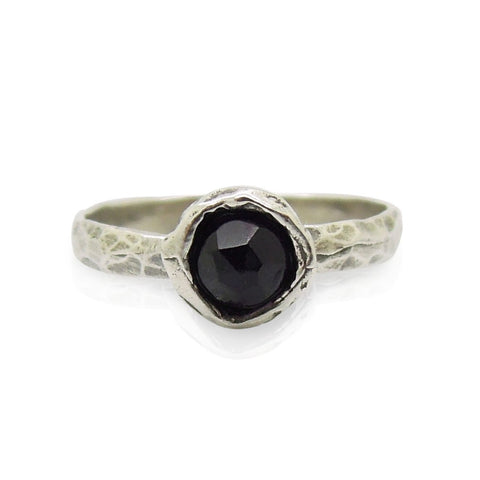 Ring - Onyx Ring Set In Hammered Sterling Silver, Stacking Ring