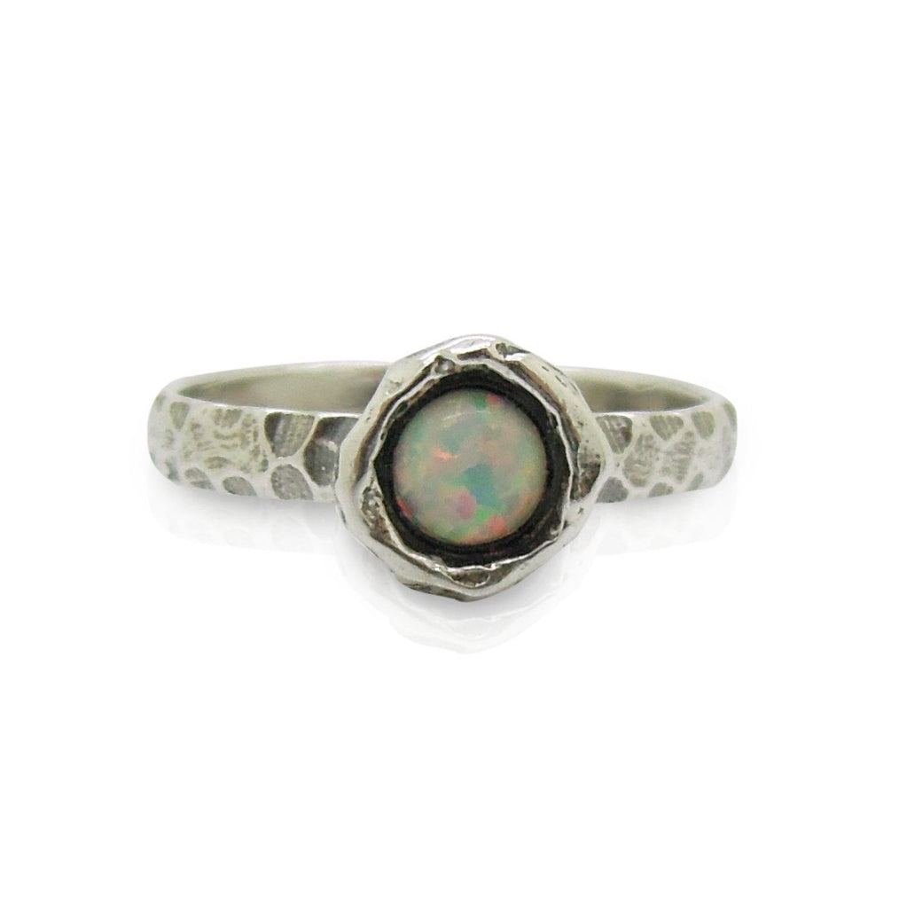 Ring - Opal Ring Set In Hammered Sterling Silver, Stacking Ring