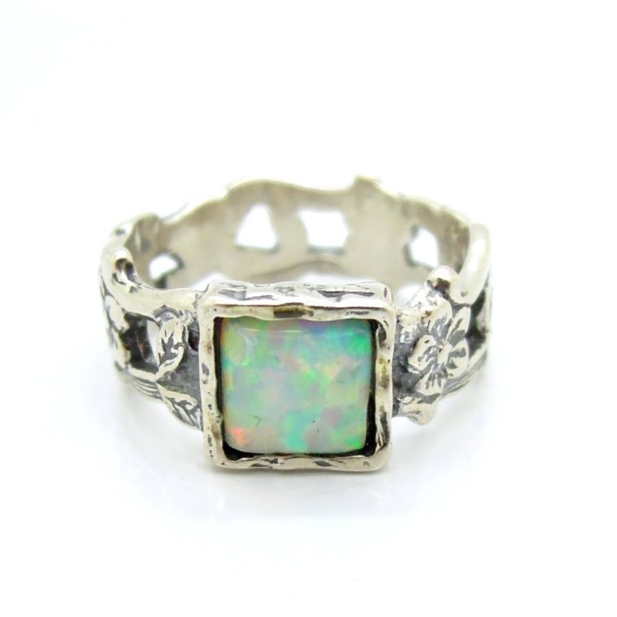 Ring - Opal Ring Set In Silver Flower Unique Design