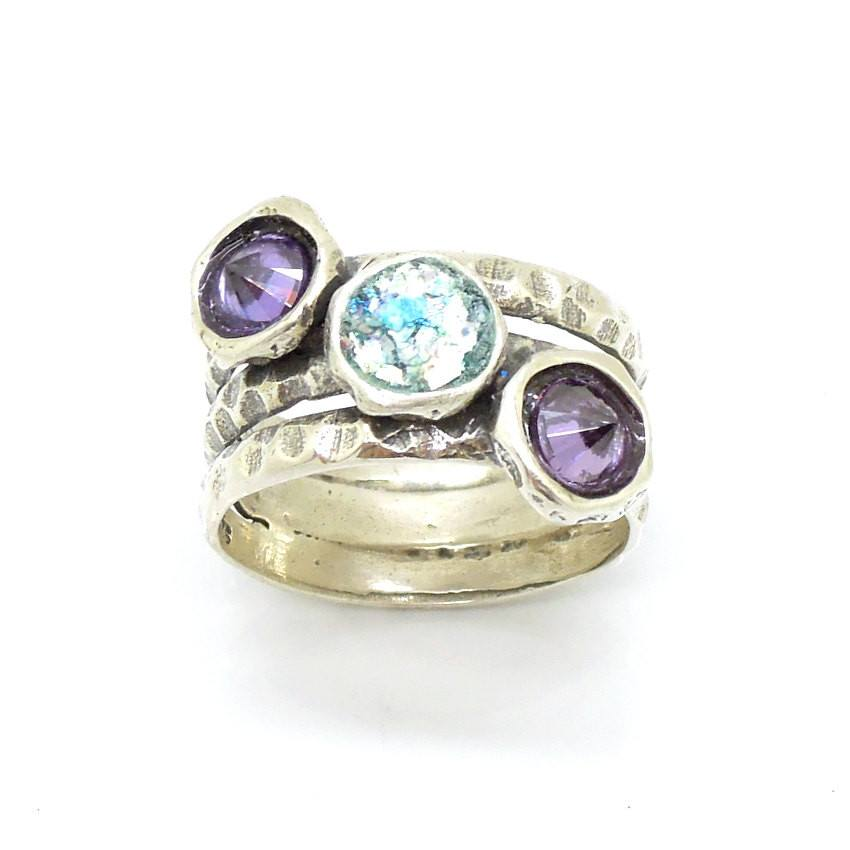 Ring - Purple CZ Silver Gemstone Ring With Roman Glass