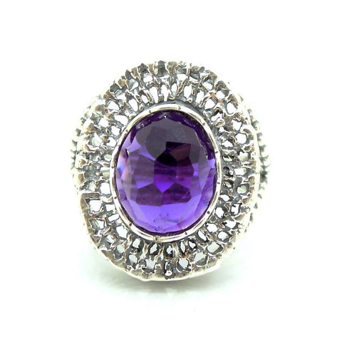 Ring - Purple Quartz Large Silver Filigree Gemstone Ring