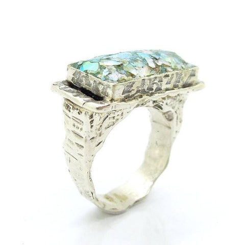 Ring - Silver Ring For Men With Roman Glass