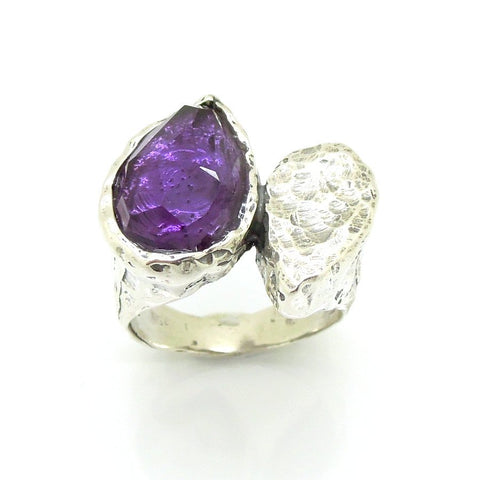 Ring - Silver Ring With Purple CZ Drop Shape Gemstone Ring