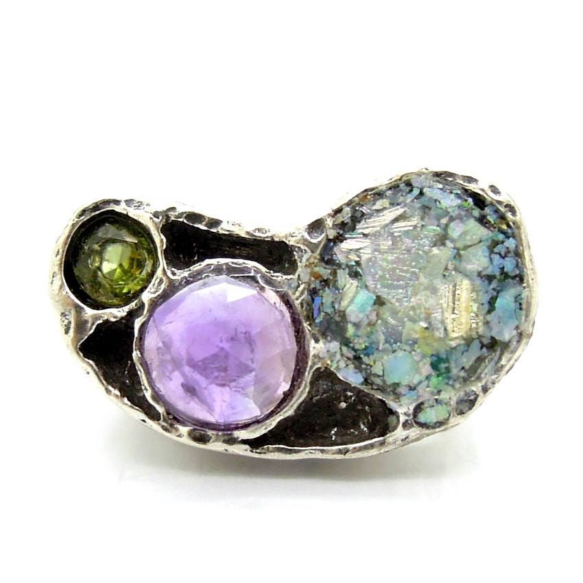 Ring - Silver Ring With Roman Glass, Amethyst And A Peridot