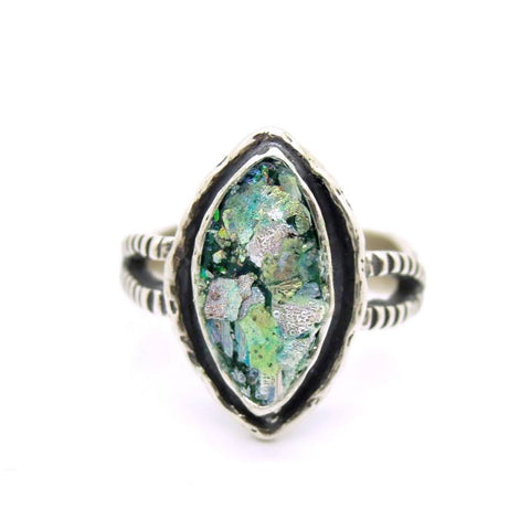 Ring - Silver & Roman Glass Ring Oval Shaped