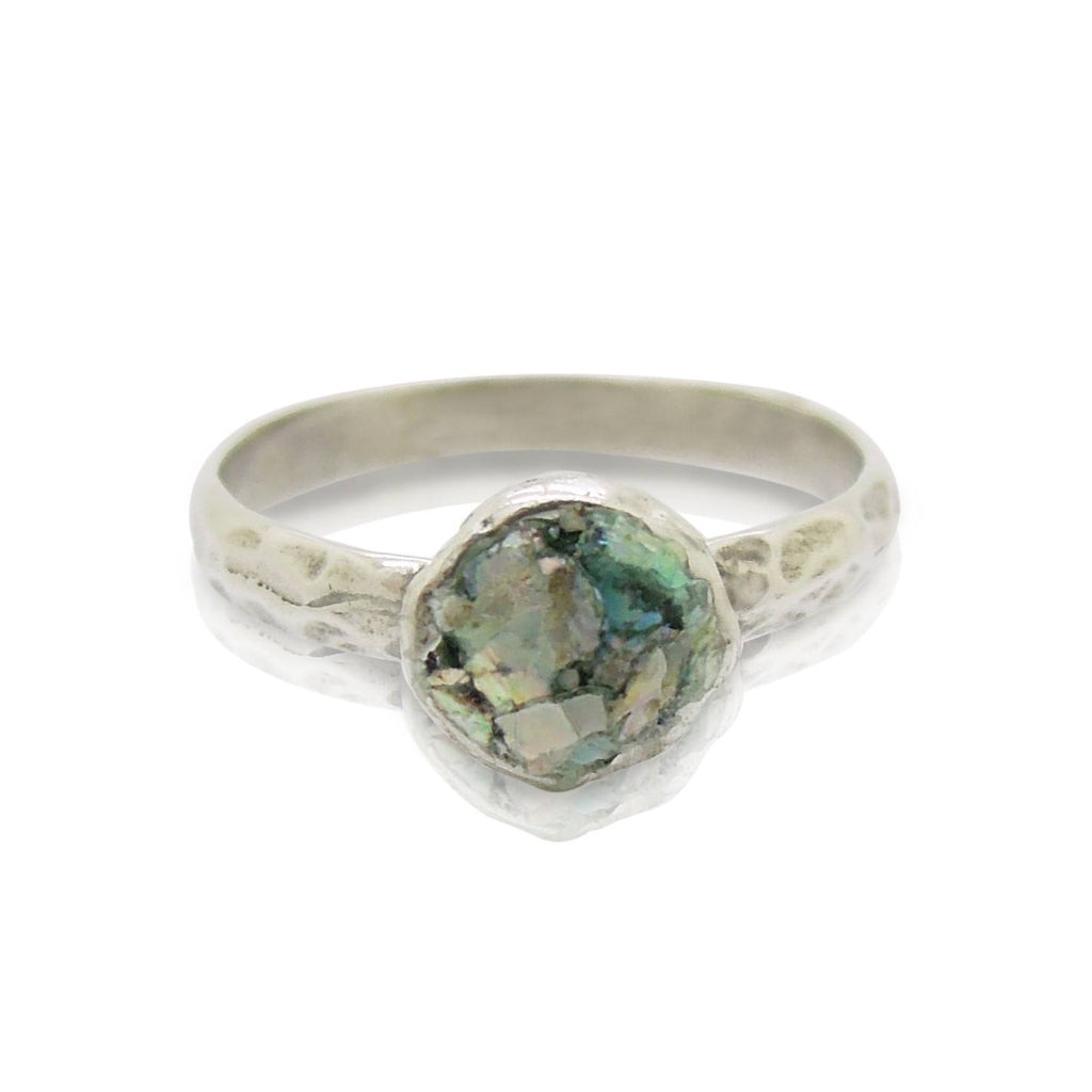 Ring - Stacking Ring, Hammered Sterling Silver, Roman Glass Set On Top