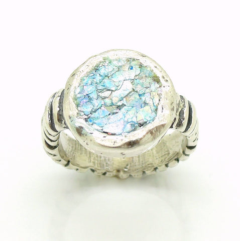 Ring - Unique Silver Ring With Roman Glass