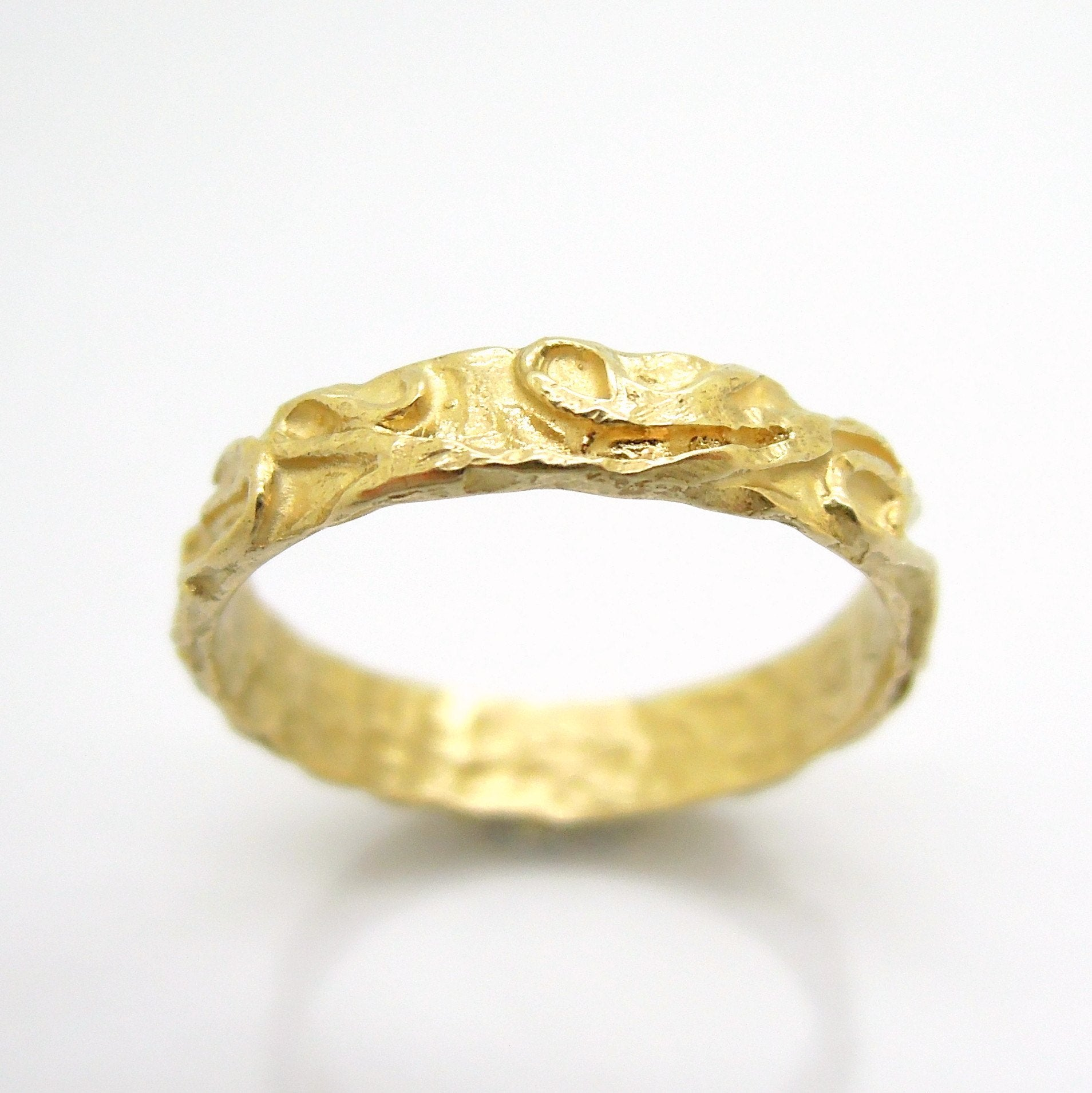 ring wedding band stacking ring landscape line design yellow gold ring