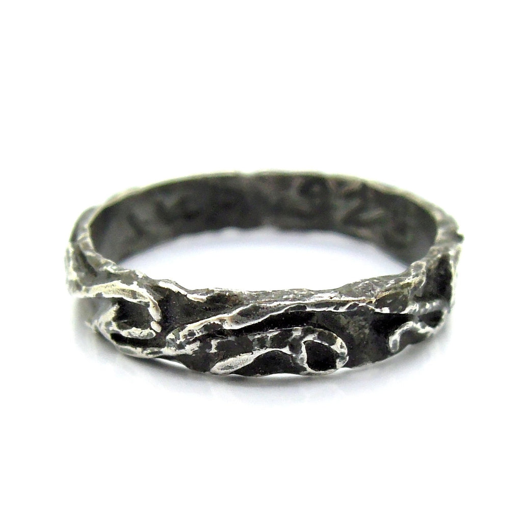 Ring - Wedding Band, Stacking Ring, Oxidized Silver Ring, Landscape Line Design