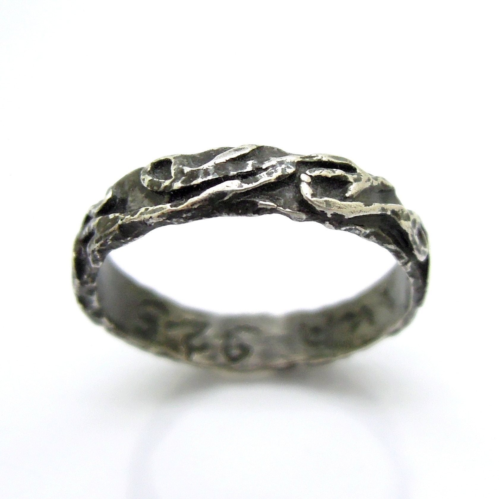 engagement black product band brushed in asymestria celestial silver rings oxidized ring handcrafted or