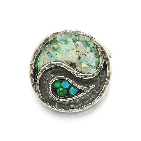 Ring - Yin Yang Ring With Mosaic Opal & Roman Glass