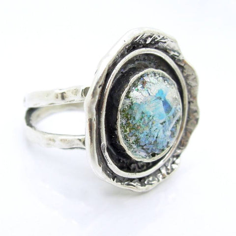 Rings - Curvy Large Silver Roman Glass Ring Wide & Hammered