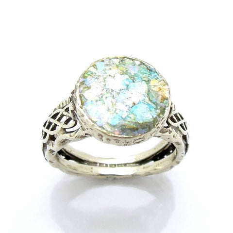 Rings - Filigree Classic Unisex Roman Glass & Silver Ring