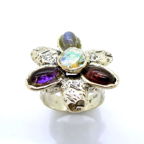 Rings - Gemstone And Glass Large Silver Ring Flower Shaped