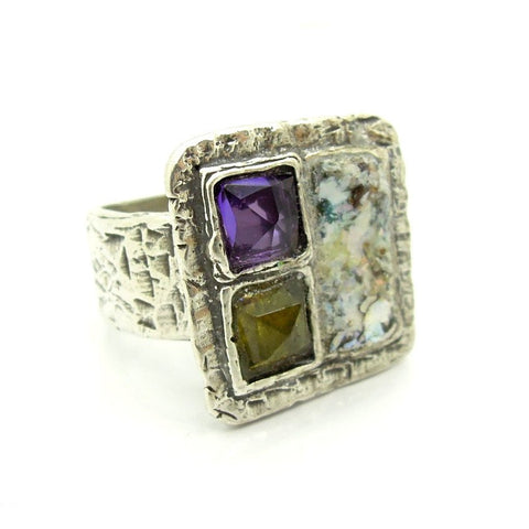Rings - Green Garnet, Purple Zircon Large Roman Glass Ring