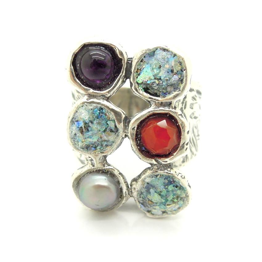 Rings - Hematite, Pearl And Carneal Large Silver Ring With Glass