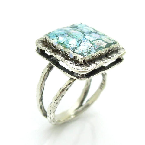 Rings - Large Layer Silver & Roman Glass Square Ring