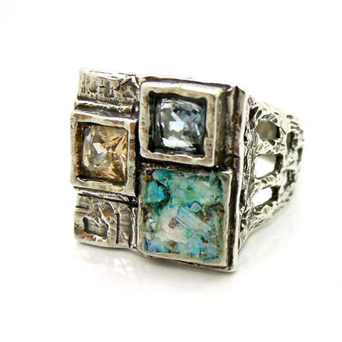 Rings - Large Square Silver Ring With Zircon & Roman Glass