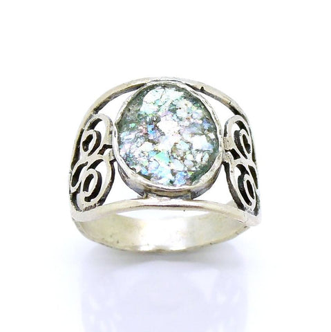 Rings - Lovely Silver And Roman Glass Filigree Large Ring