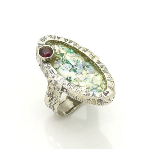 Rings - Oval Silver And Roman Glass Ring With A Garnet