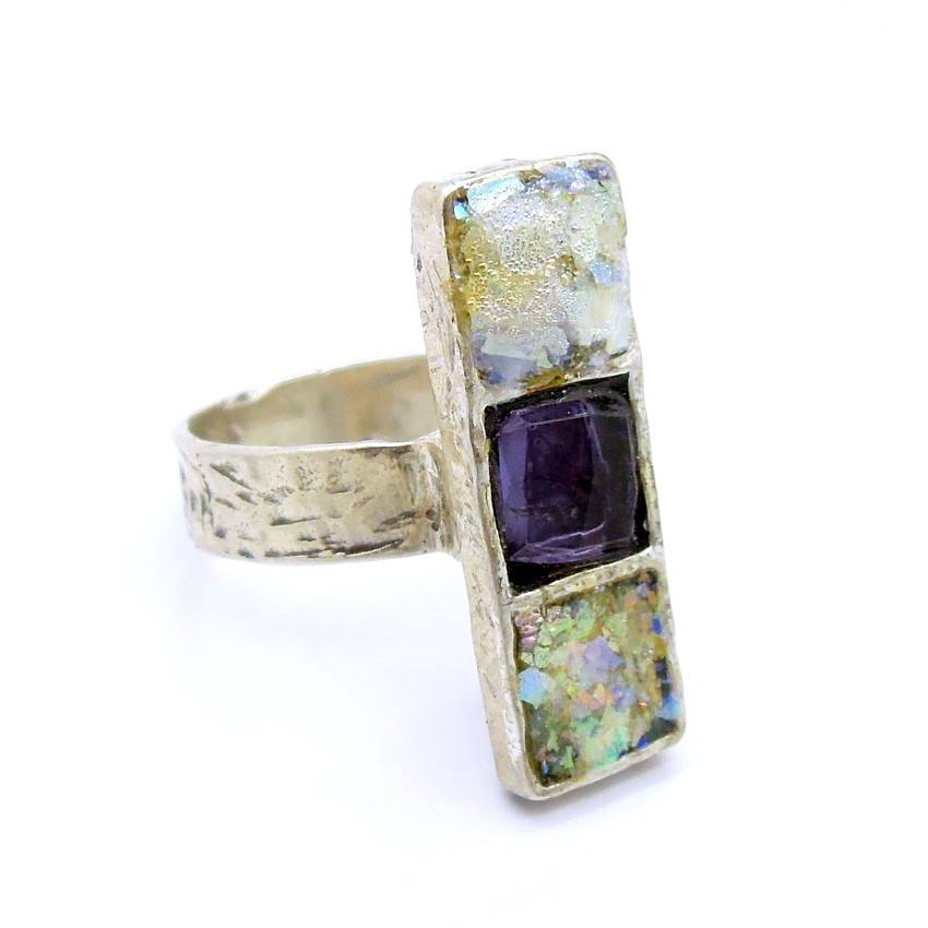 Rings - Purple Zircon And Roman Glass Gemstone Silver Ring