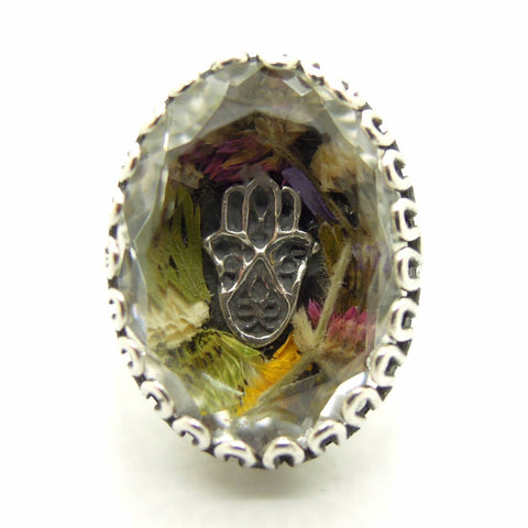 Rings - Real Flower Ring With A Hamsa Hand In A Clear Crystal Stone And Sterling Silver