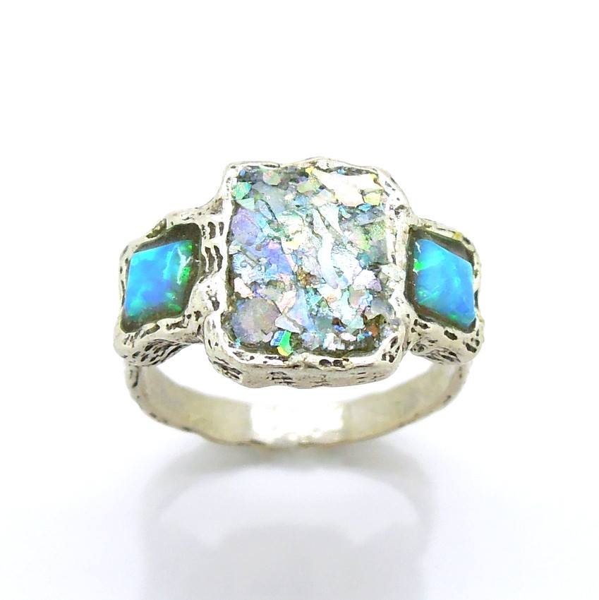 Rings - Roman Glass And Opal Gemstone Ring