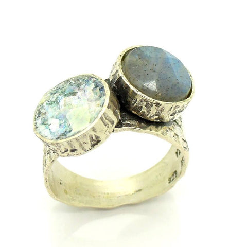 Rings - Roman Glass And Silver Labradorite Ring
