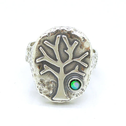 Rings - Silver And Opal Gemstone Ring - Tree Unique Design