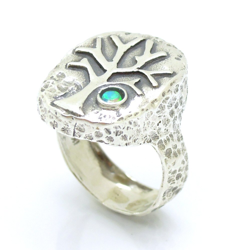 silver and opal gemstone ring - tree unique design – roman glass