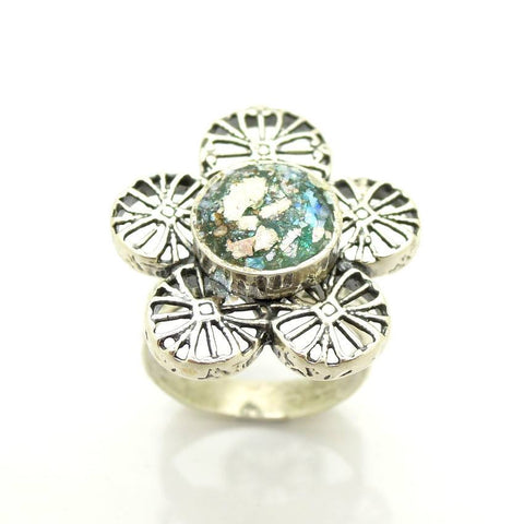 Rings - Silver And Roman Glass Large Flower Ring #2