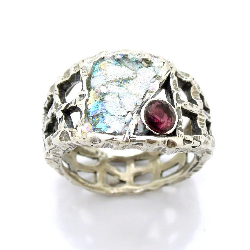 Rings - Silver And Roman Glass Large Ring For Men With A Garnet