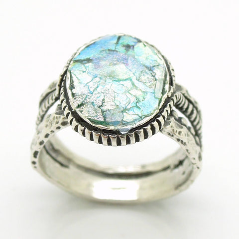 Rings - Silver Ring For Men &women With Roman Glass, Round Top And Circle Around The Band