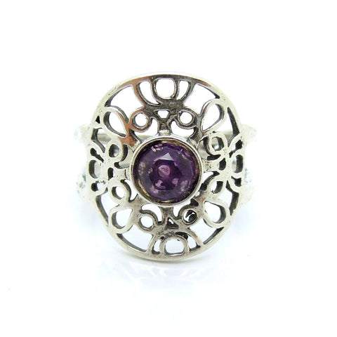Rings - Silver Ring With Amethyst At The Center, Filigree Design