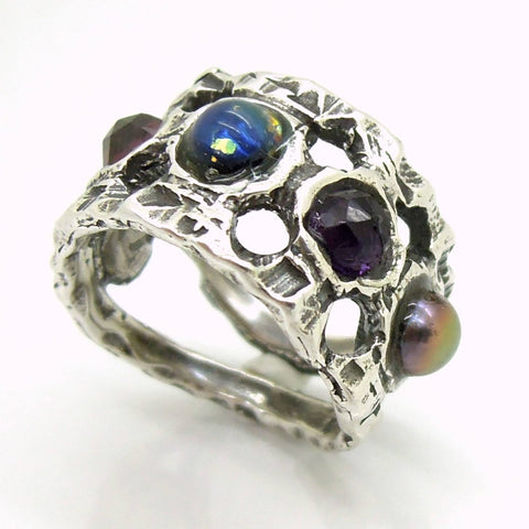 Rings - Unique Silver Ring With Gemstones For Men And Women