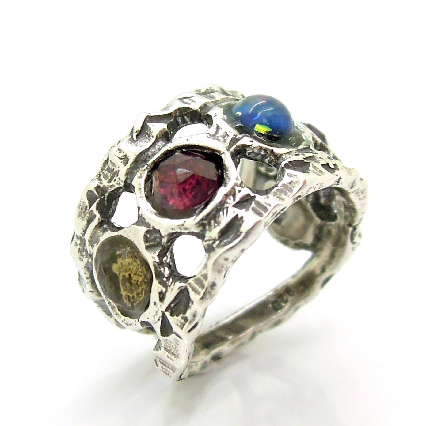 Unique silver ring with gemstones for men and women – Roman Glass ...