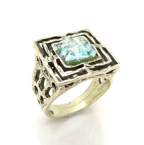 Rings - Wide And Square Mens Roman Glass Large Silver Ring