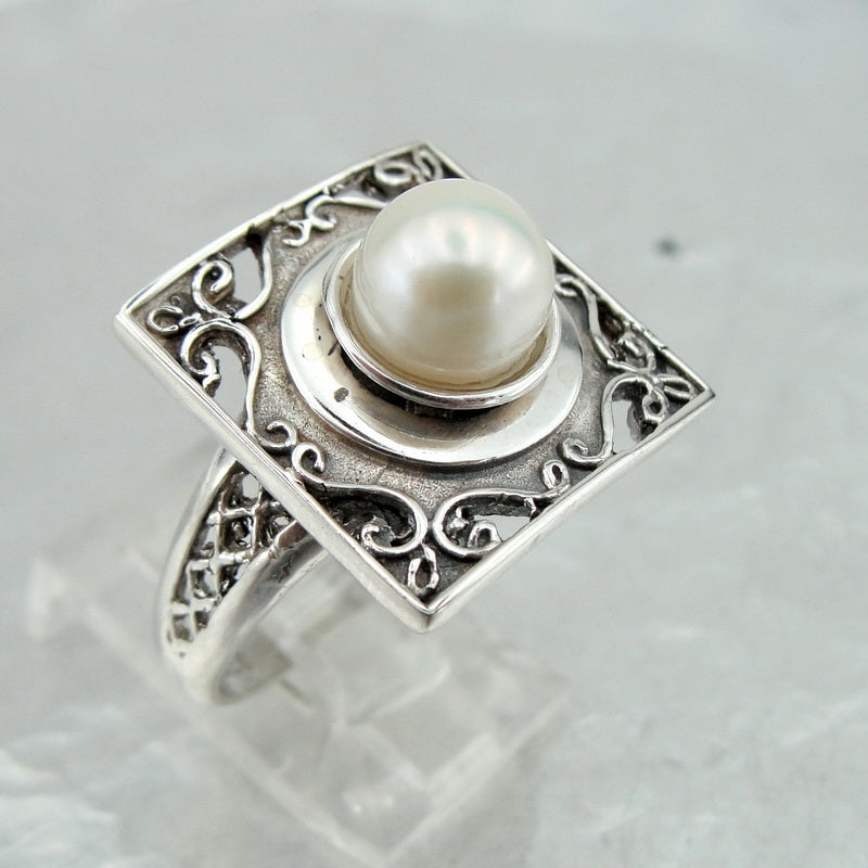 Beautiful Ring with Pearl, Hadas Jewelry, Handcrafted, 925 Sterling Silver, Gemstone Pearl Ring, Womans Gift, Israeli Jewelry (vs 110r)