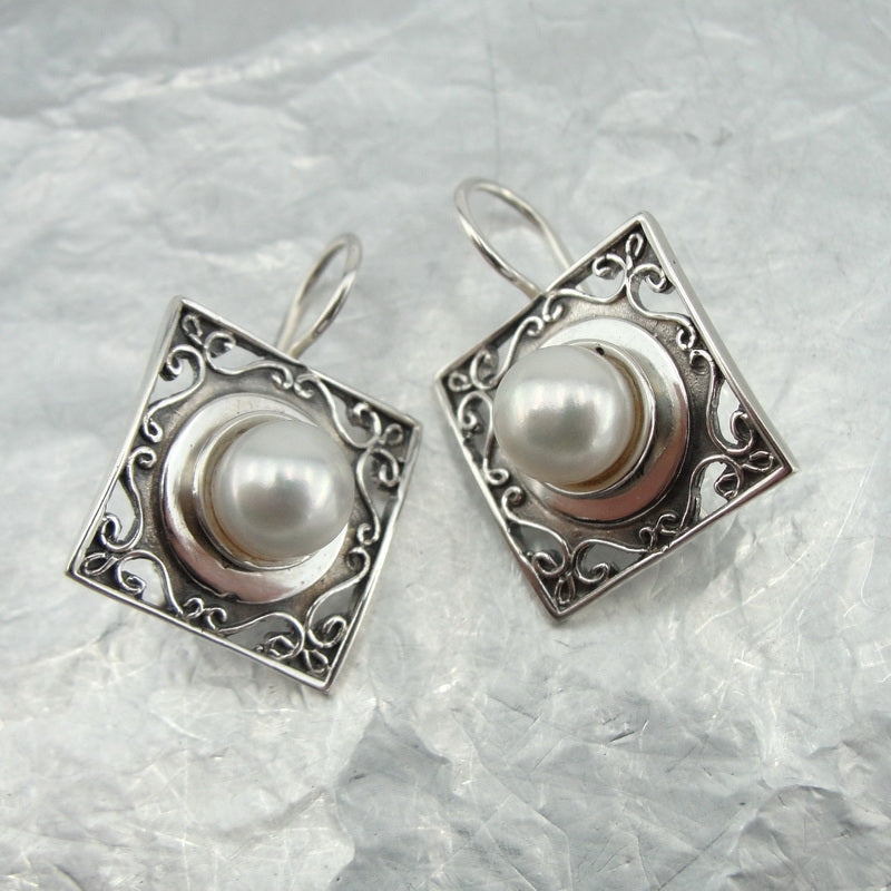 Amazing Filigree Earrings with Pearl, Israeli Jewelry, 925 Sterling Silver, Handmade, Silver Gemstone Earrings, Gift for Her (vs 110e)