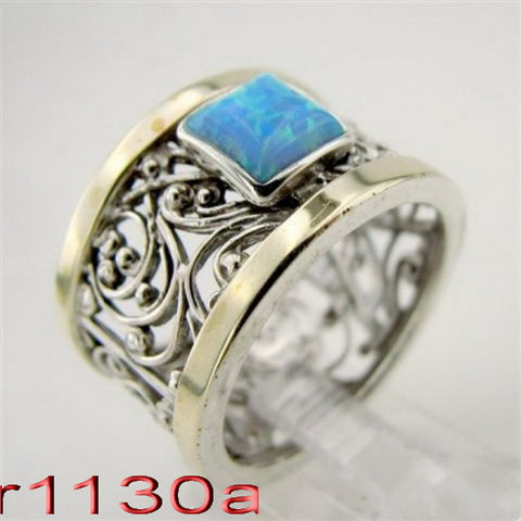 Filigree Ring with Opal, 925 Sterling Silver & 9K Yellow Gold Ring, Big Ring, Israeli Jewelry, Gift for Her, Gemstone Jewelry (vs 1130r)