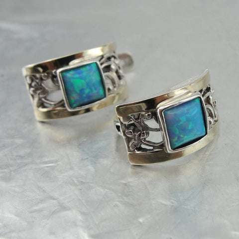 Unique Earrings with Opal, 925 Sterling Silver & 9k Yellow Gold, Israeli Jewelry, Handmade, Silver Earrings, Womans Gift, Gemstone Earrings (vs 1130A)