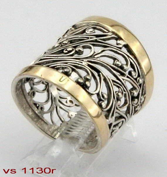 Silver & Gold Filigree Ring, 925 Sterling Silver, 9K Yellow Gold Ring, Big Ring, Israeli Jewelry, Gift for Her (vs 1130r)