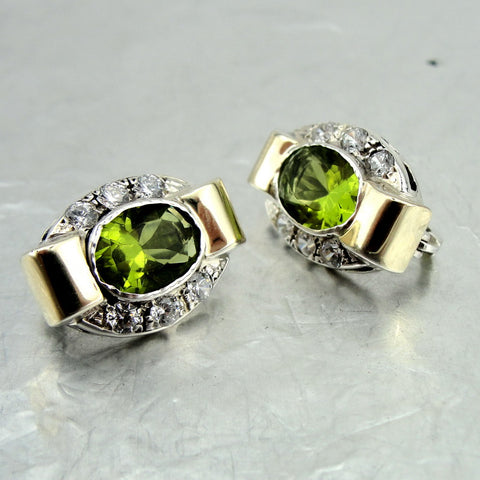 Great Earrings with Peridot & Zircon CZ, Earrings with any Stone, 925 Sterling Silver & 9k Yellow Gold, Israeli Jewelry, Handmade, Silver Earrings, Womans Gift, Gemstone Earrings (vs 1260e)