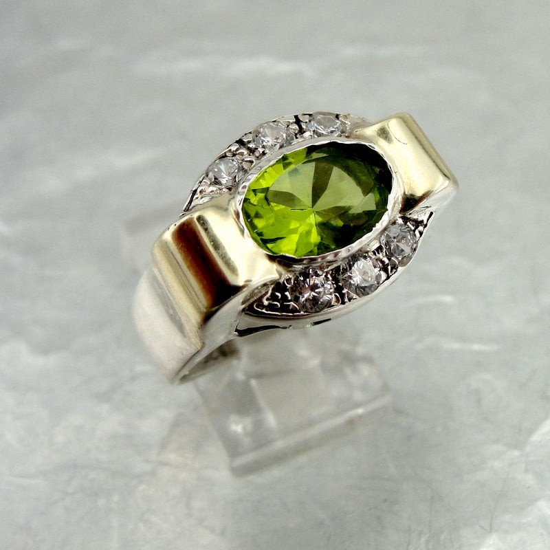 Amazing Ring with Peridot & Zircon CZ, 925 Sterling Silver, 9K Yellow Gold Ring, Big Ring, Israeli Jewelry, Gift for Her, Gemstone Jewelry (vs 1260r)