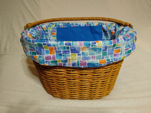 Mosaic Squares Blue backed by Blue Solid